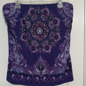 NWOT Paisley Strapless Top